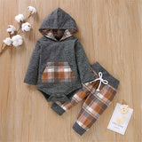 Newborn Baby Boys Girls Hoodie Outfits Infant Plaid Pocket Sweatshirt Jacket Top+ Long Pants Brother Sister Clothes Set - Expott.com
