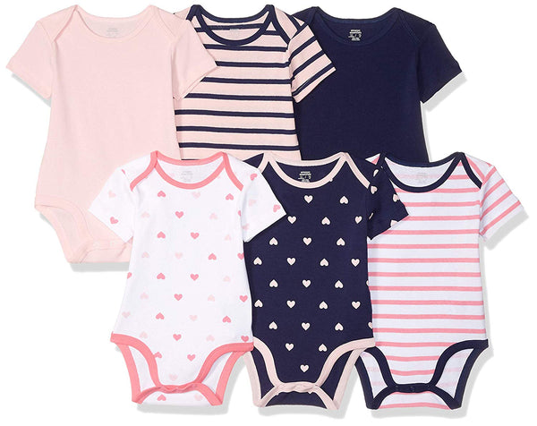 Amazon Essentials Girls' Baby 6-Pack Short-Sleeve Bodysuit - Expott.com