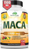 Organic Maca Root Black, Red, Yellow 1900 MG per Serving - 150 Vegan Capsules Peruvian Maca Root Gelatinized 100% Pure Non-GMO Supports Reproductive Health Natural Energizer - Expott.com