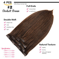 "GEELOOK Clip in Hair Extensions 20"" Double Weft 100% Remy Human Hair Grade 7A Quality Thick Long Soft Silky Straight 4pcs 10clips for Women 70grams Darkest Brown #2 Color - Expott.com"