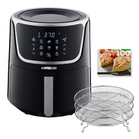 GoWISE USA GW22956 7-Quart Electric Air Fryer with Dehydrator & 3 Stackable Racks, Led Digital Touchscreen with 8 Functions + Recipes, 7.0-Qt, Black/Silver - Expott.com