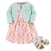 Hudson Baby Girl Dress, Cardigan and Shoes - Expott.com