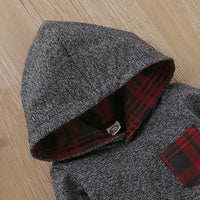 Kids Toddler Infant Baby Boys Girls Fall Outfit Plaid Pocket Hoodie Sweatshirt Jackets Shirt+Pants Winter Clothes Set - Expott.com
