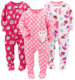 Simple Joys by Carter's Baby and Toddler Girls' 3-Pack Loose Fit Fleece Footed Pajamas - Expott.com