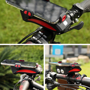 4 in 1 Bike Chargeable Phone Holder With 400 Lumens Flashlight & High Decibel Bell