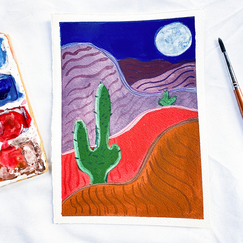 "midnight at the desert (5.5""x7.5)"