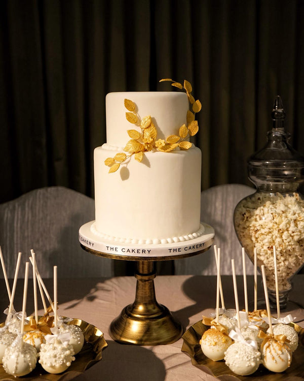 White Wedding Cake with Golf Leaves