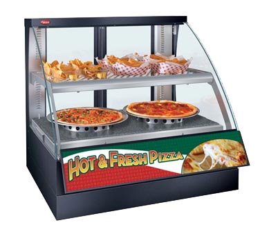 "Hatco Flav-R-Savor® Countertop Curved Glass Heated Display Case With Humidity 34.38""W Double Shelf Stainless Steel"