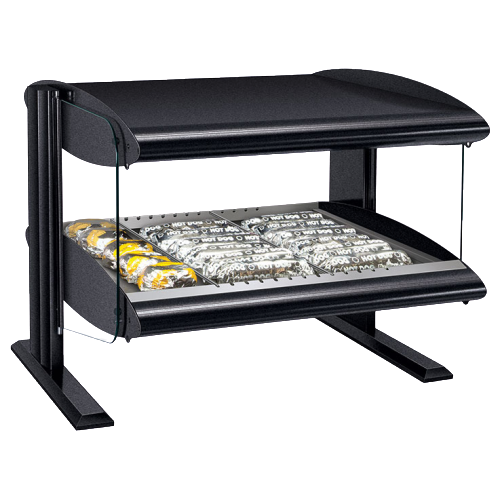 "Hatco One Shelf 8 Rod Countertop Horizontal Heated Merchandiser With LED Lighting Warmer 42""W Hardcoat Aluminum"