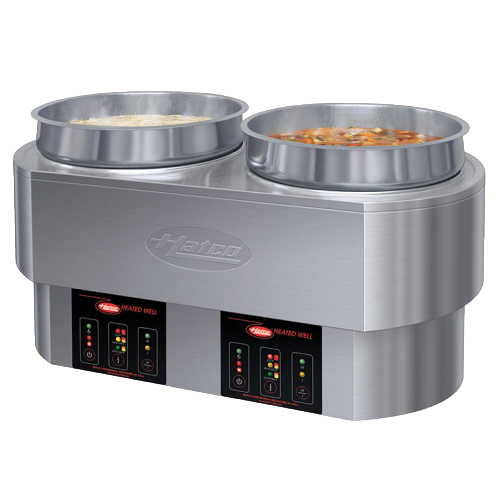 Hatco Electric Countertop Round Food Warmer/ Cooker (2) 11 qt. Pan Capacity Stainless Steel