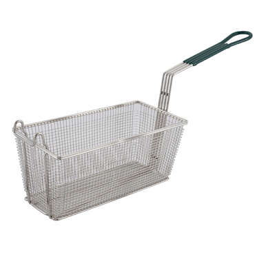 "Winco FB-30 13-1/4"" X 6-1/2"" X 5-7/8"" Wire Mesh Fry Basket"