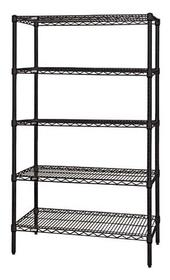 "QUANTUM H/D 74""H 5-Shelf Wire Shelving Kit, 800lb, WR74, NSF, BLACK EPOXY, 15yr"
