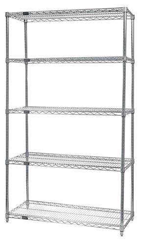 "QUANTUM H/D 74""H 5-Shelf Wire Shelving Kit, 800lb, WR74, NSF, CHROME, 1yr"