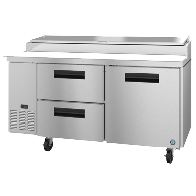 "Hoshizaki Stainless Steel Pizza Prep Table 67"" Wide With Two Drawers & One Door"