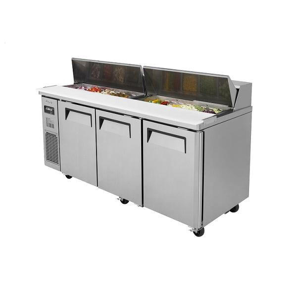 "Turbo Air JST-72-N 72"" 3 Door Sandwich Prep Table (Side Mount)"