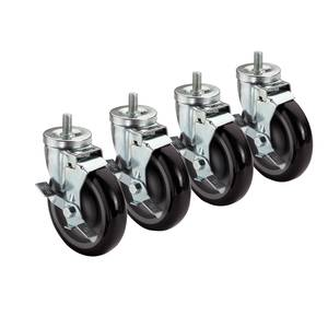 "3"" Screw-In Rubber Casters for Wire Shelving (Set of 4, 2 Locking) PLCB3b"
