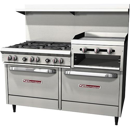 "Southbend S60DD-2RR S-Series 60"" 6 Burners Stove and 24"" Raised Griddle and 2 Standard Oven"