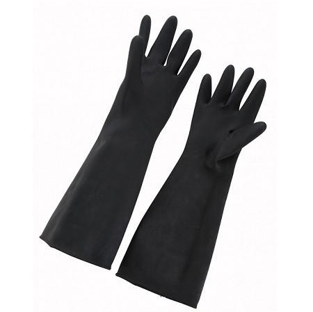 "Winco NLG-1018 10"" x 18"" Natural Latex Gloves - Black"