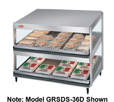 Hatco Glo-Ray® 2 Slant Shelves 24 Rod Countertop Merchandising Warmer Stainless Steel & Aluminum Construction