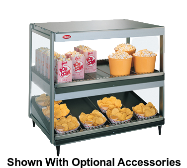 Hatco Glo-Ray® 2 Shelves 14 Rod Countertop Merchandising Warmer Stainless/Aluminum Construction