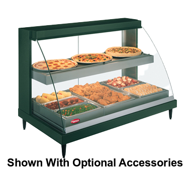 "Hatco Glo-Ray® Designer Countertop Curved Glass Heated Display Case With Humidity 45.5""W Dual Shelves Stainless Steel"