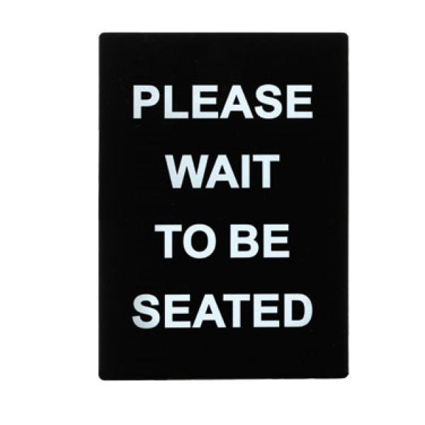 "Winco SGN-802 Red 6"" X 9"" Information Sign with Symbol - Imprint "" Please Wait To Be Seated"""