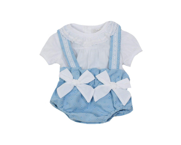 Dr. Kid Baby Girls Light Blue 2Pc With White Bows & Collar