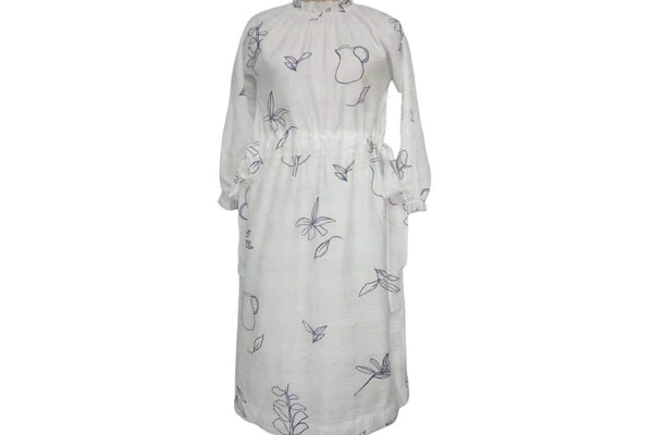 Petite Ruelle Teens White dress With Black Flowers