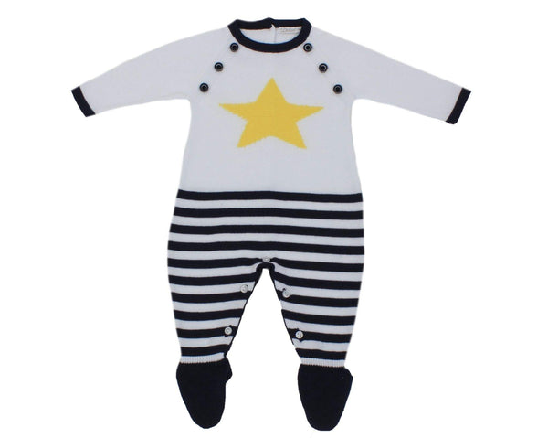 Dr. Kid Baby Boys White & Navy Overall With Yellow Star
