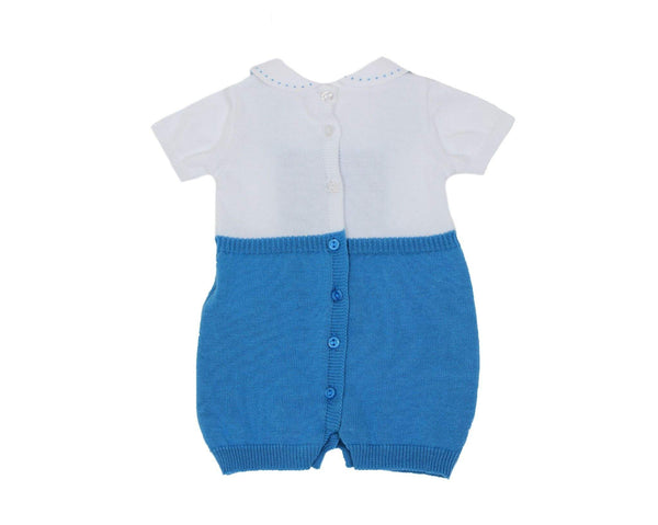 Dr. Kids Baby Boys Royal Blue & White Romper