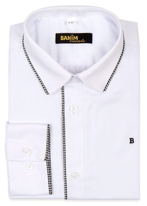 Banim Boys White Shirt With Trim Style: HE5461