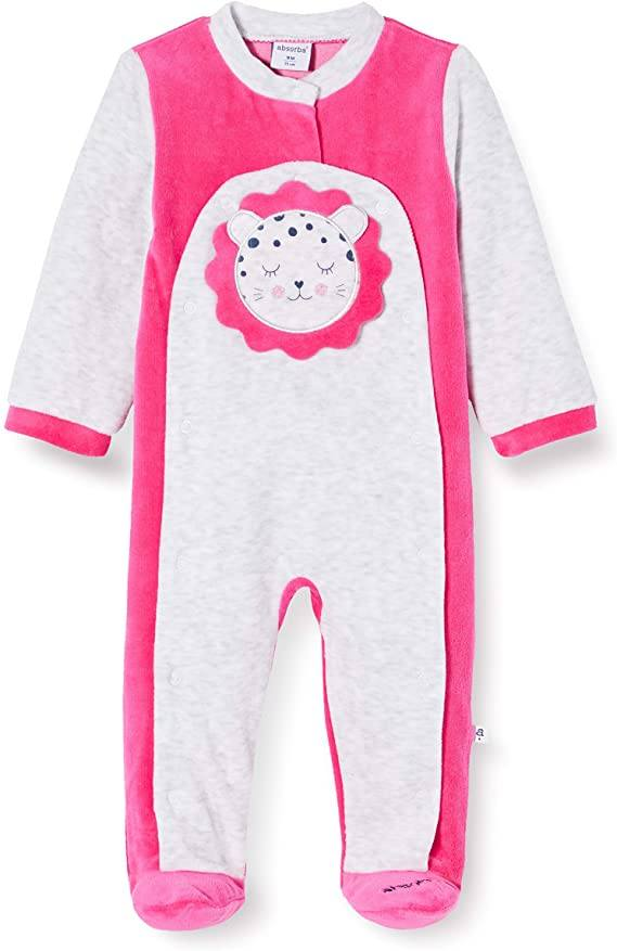 Absorba Pink & Grey Sleepsuit With Teddy