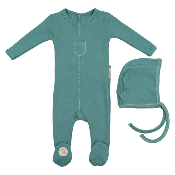 Charmant Tip Top Ribbed Footie & Hat Set Teal