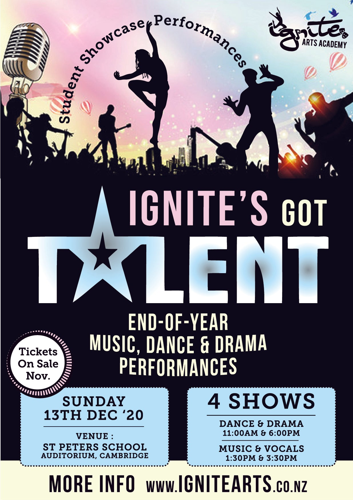 MULTI SHOW TICKETS - 1.30pm Music and 6pm Dance & Drama Showcases