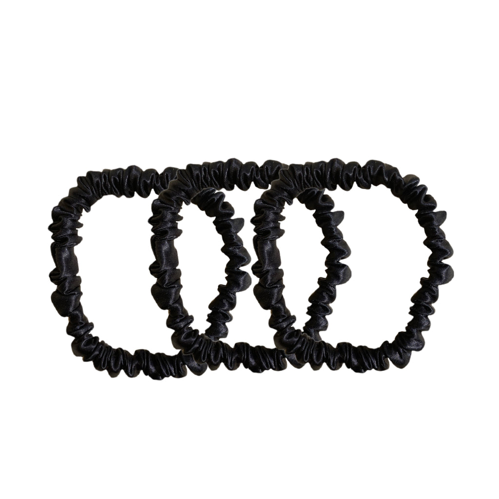 Skinny Silk Scrunchies - Black