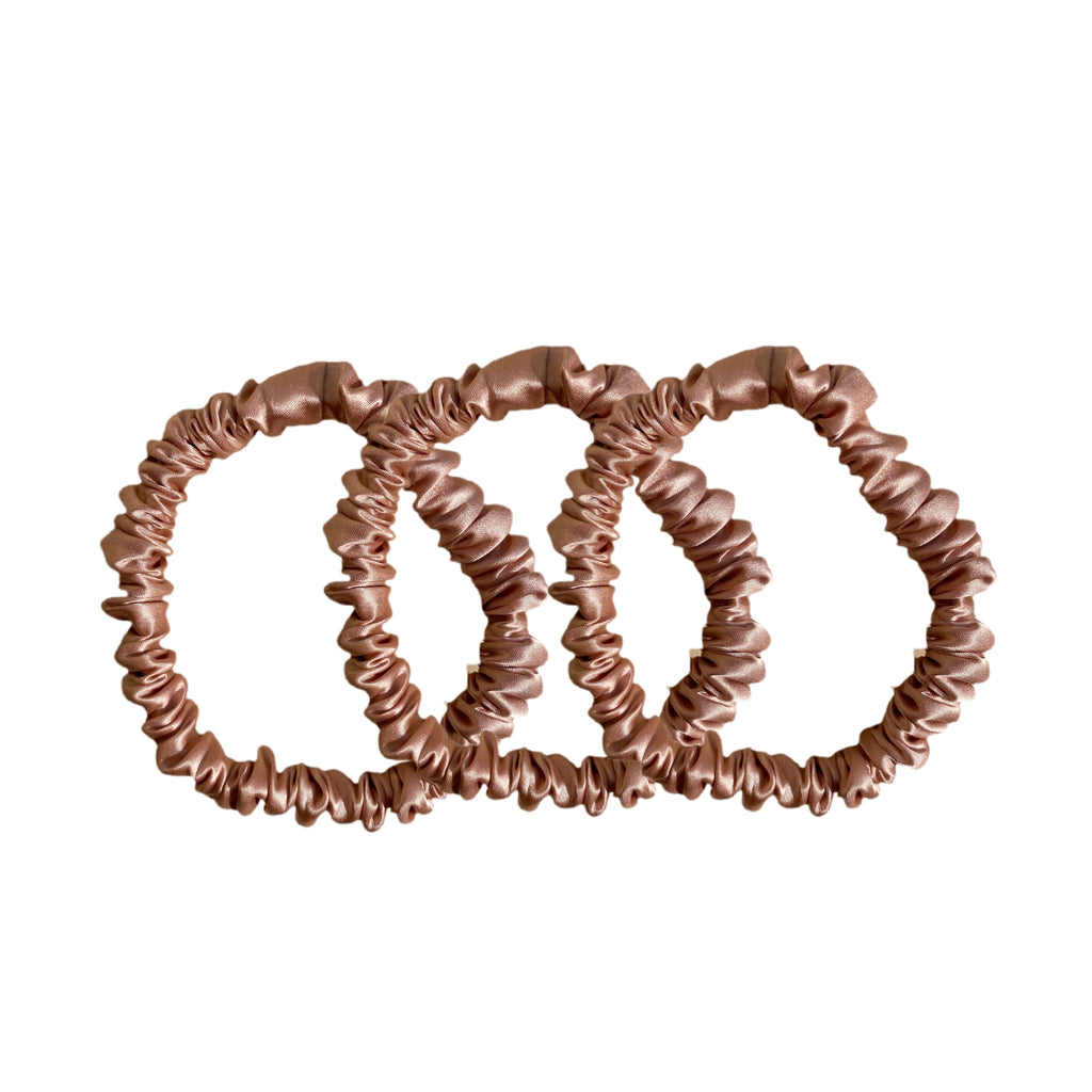 Skinny Silk Scrunchies - Rose Gold