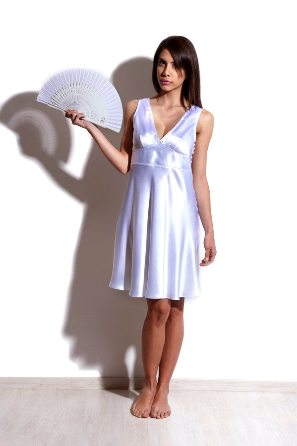 Agena - Silk Satin White short Nightdress