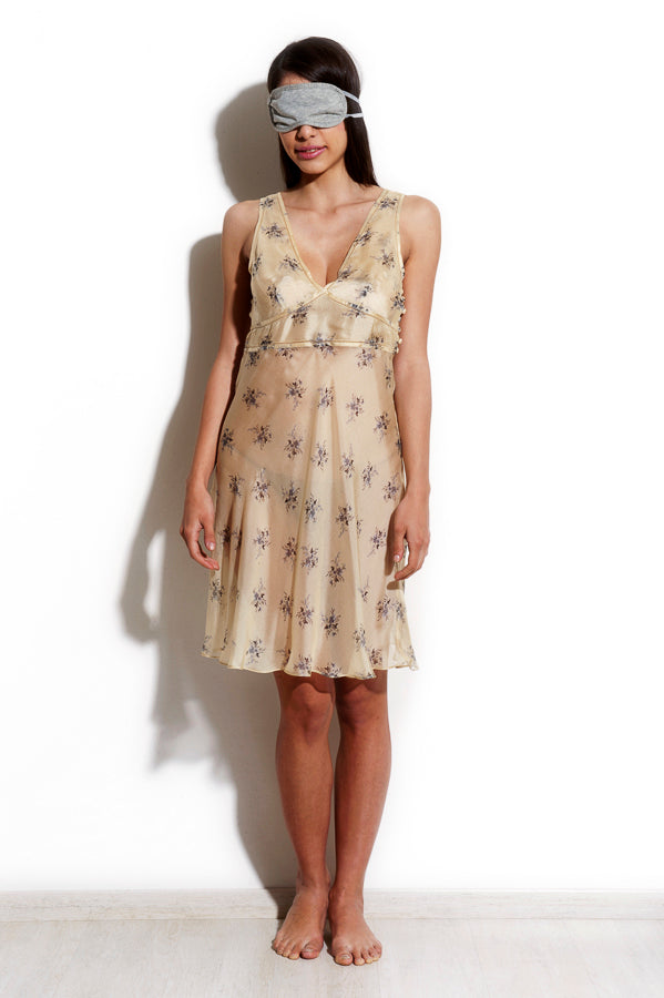 Agena - Silk Chiffon Flor Gold short Nightdress