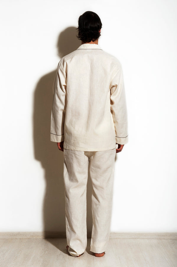 Shaula - Feather White Linen and Silk Men Pyjamas