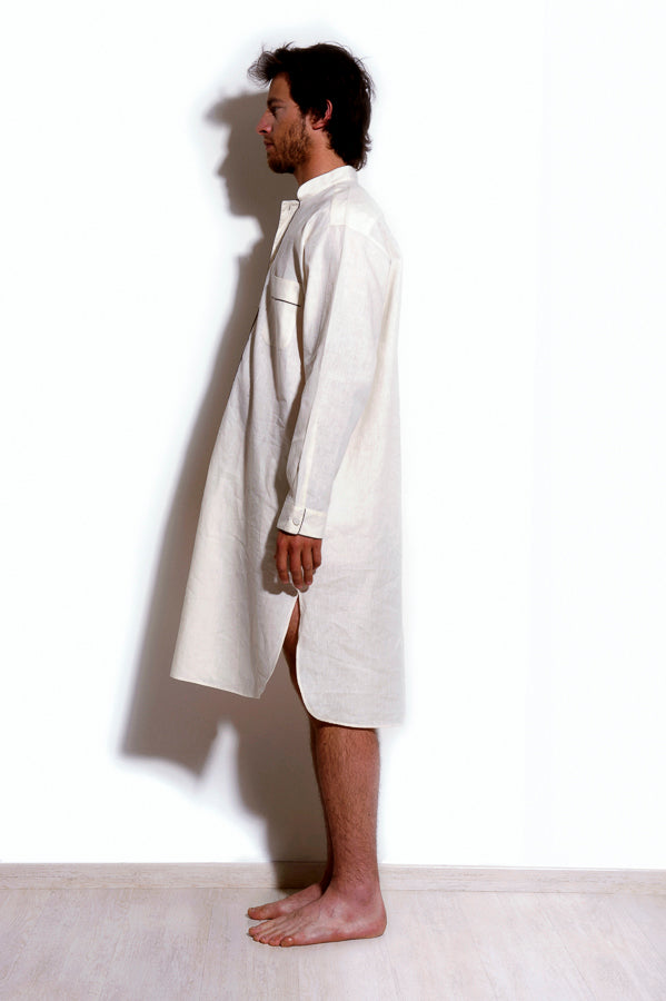 Albireo - White Linen Silk Man Nightdress