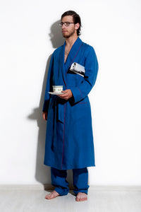 Sargas - Blue Linen Men Dressing Gown