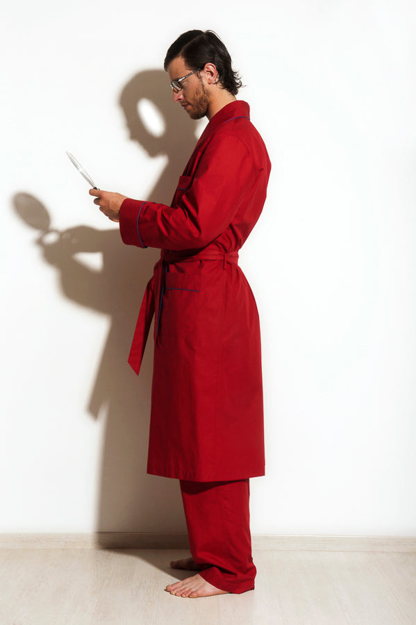 Sargas - Red Cotton Men Dressing Gown