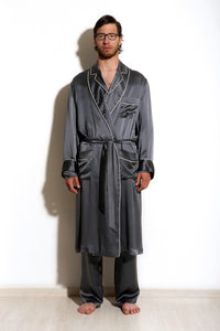 Sargas - Grey Silk Men Dressing Gown
