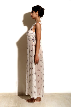 Maia - White Floral Chiffon Night Dress