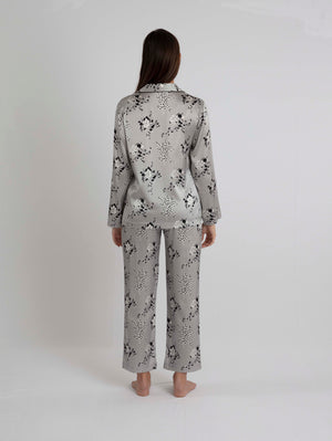 Bibi - Mimosa Printed Grey Silk Pyjamas