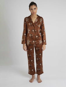 Bibi - Mimosa Printed Brown Silk Pyjamas