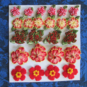 Ribbon Flowers - Red or Purple Assortment
