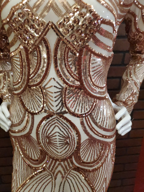 Rose gold studded sequence dress