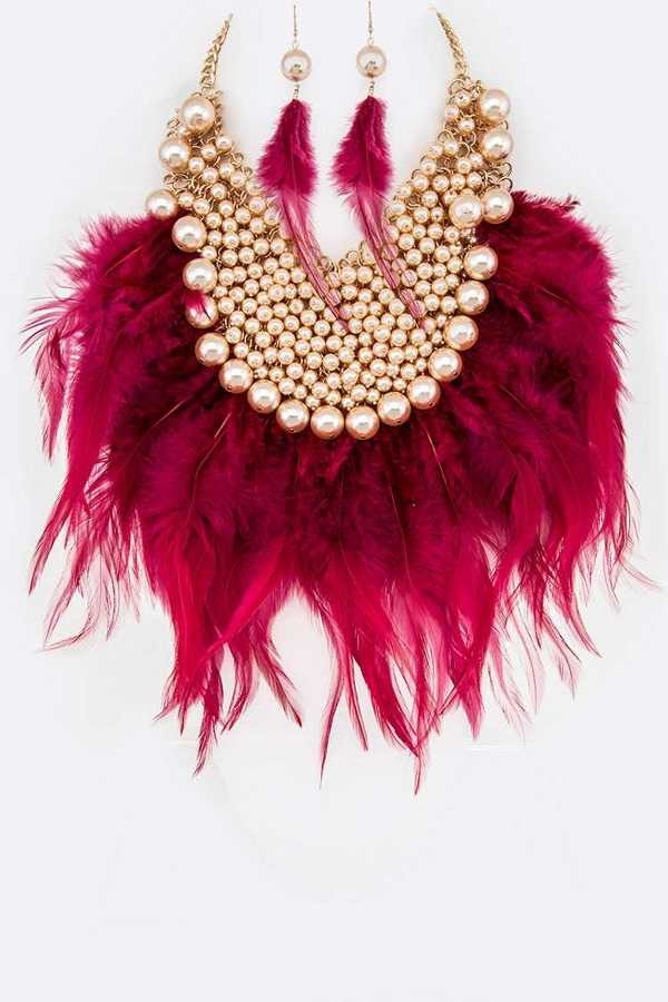 Crimson Feathered necklace.