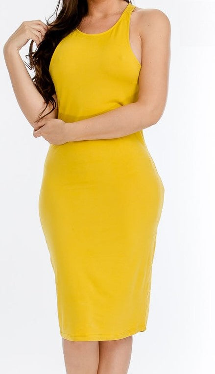 Mustard sleeveless T Dress